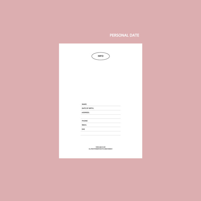 Personal data - GMZ 2021 Kitsch heart dated weekly diary planner