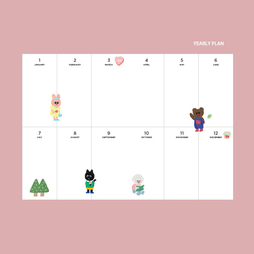 Yearly plan - GMZ 2021 Kitsch heart dated weekly diary planner