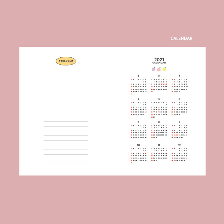 Calendar - GMZ 2021 Kitsch heart dated weekly diary planner