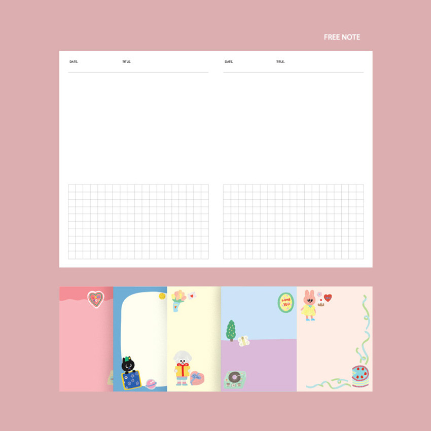 Free note - GMZ 2021 Kitsch heart dated weekly diary planner
