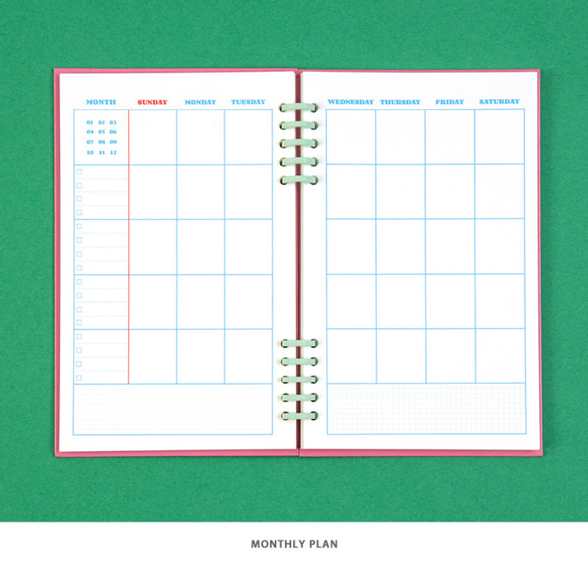 Monthly plan - Ardium Color pop 10 rings dateless monthly diary planner
