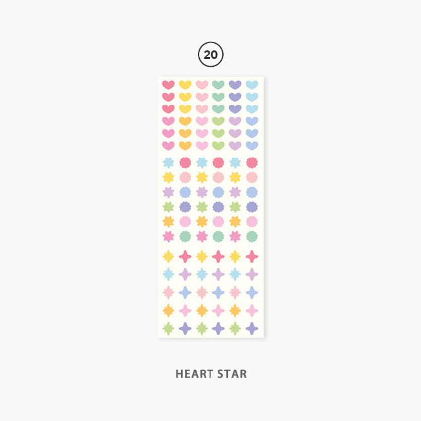 20 Heart star - Second Mansion Hologram confetti removable sticker seal 19-24