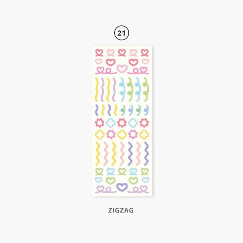 21 Zigzag - Second Mansion Hologram confetti removable sticker seal 19-24