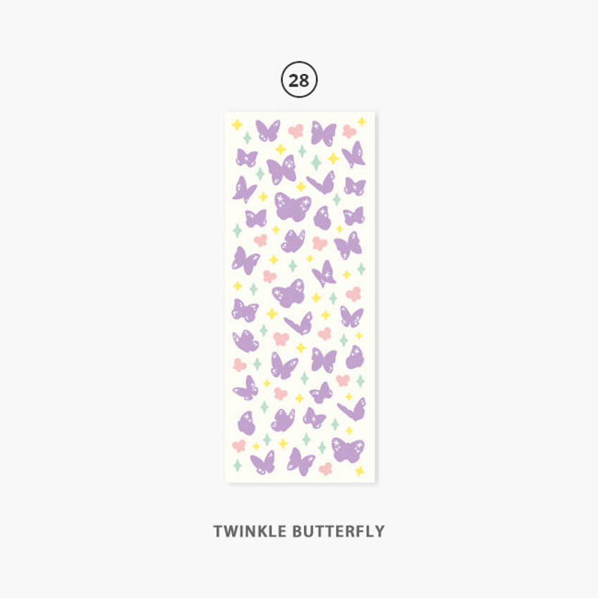 28 Twinkle Butterfly - Second Mansion Hologram confetti removable sticker seal 25-30