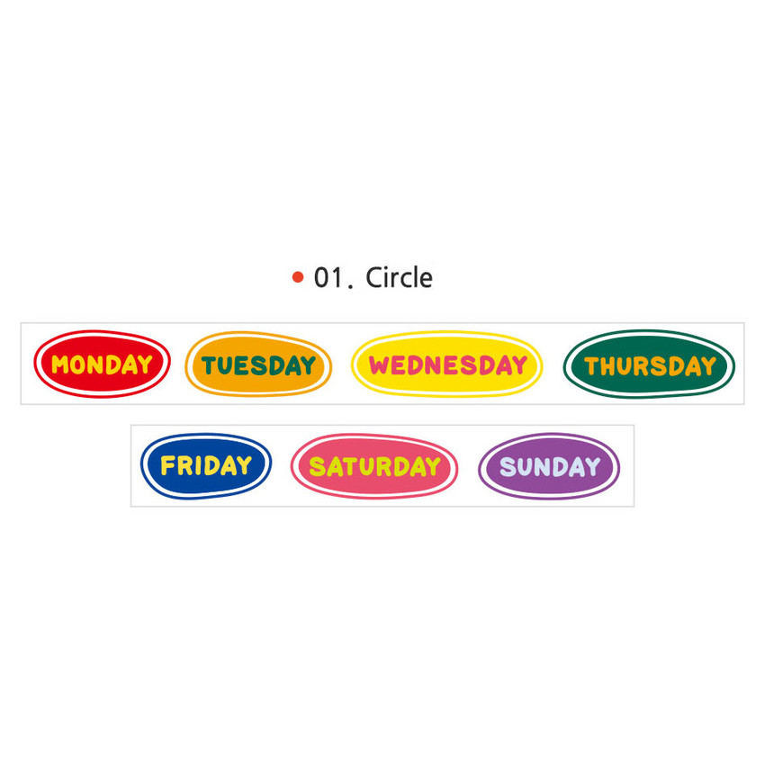 01 Circle - Wanna This Alphabet day of the week paper masking tape