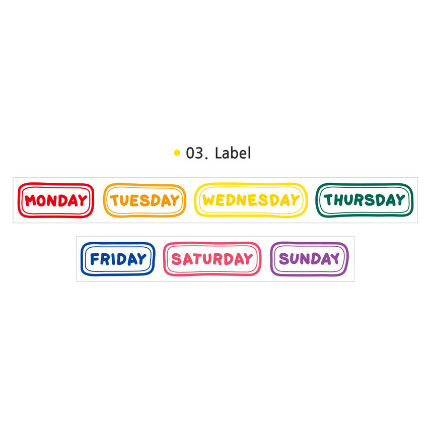 03 Label - Wanna This Alphabet day of the week paper masking tape