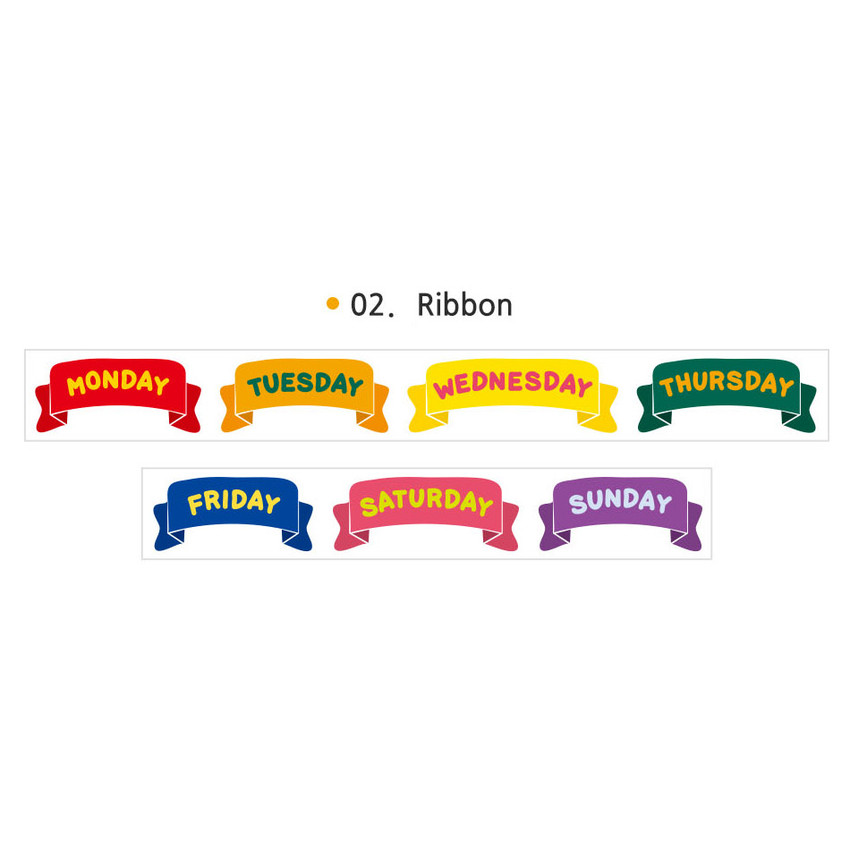 02 Ribbon - Wanna This Alphabet day of the week paper masking tape