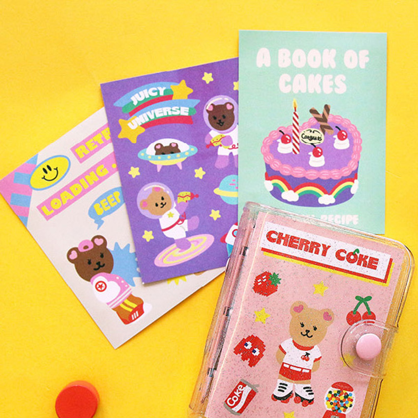 Cover pocket - Second Mansion Juicy bear 3 ring grid notebook