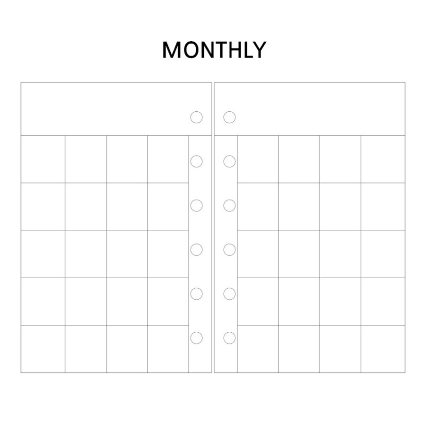 Monthly - Wanna This Picnic check A7 6-ring dateless monthly planner