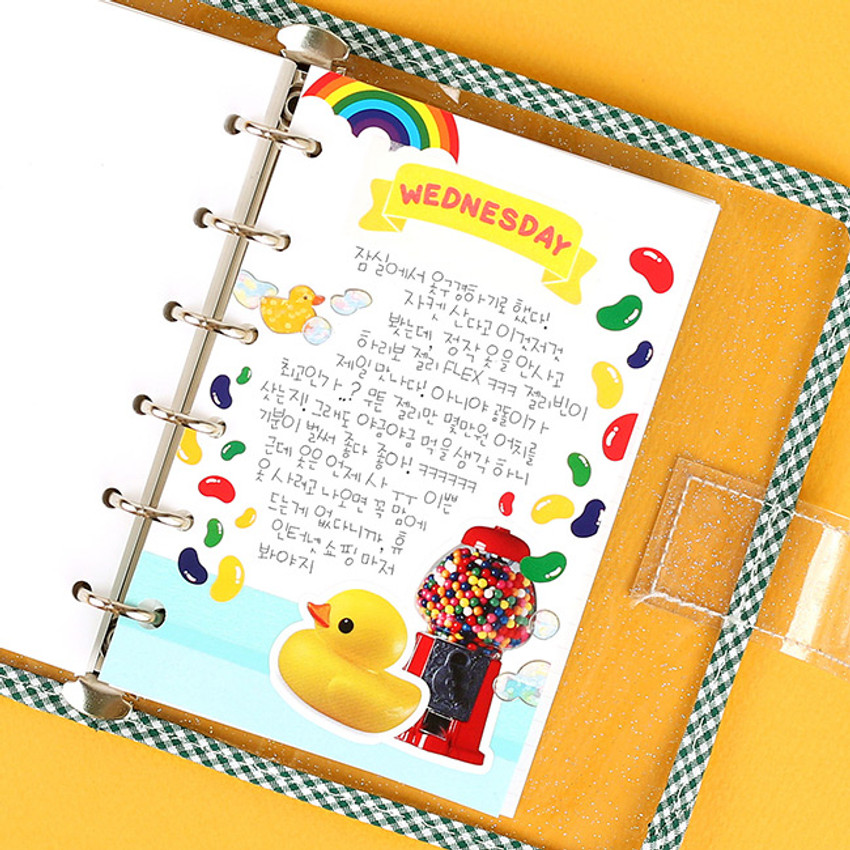 Blank - Wanna This Picnic check A7 6-ring dateless monthly planner