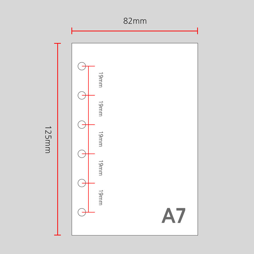 Size - Wanna This Color blank paper A7 size 6 holes refills set