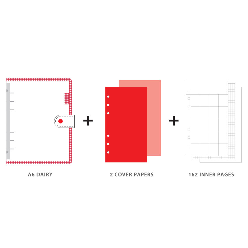 Composition - Wanna This Picnic check A6 6-ring dateless monthly planner