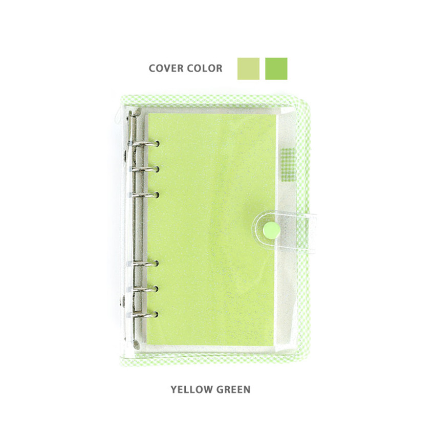 Yellow Green - Wanna This Picnic check A6 6-ring dateless monthly planner