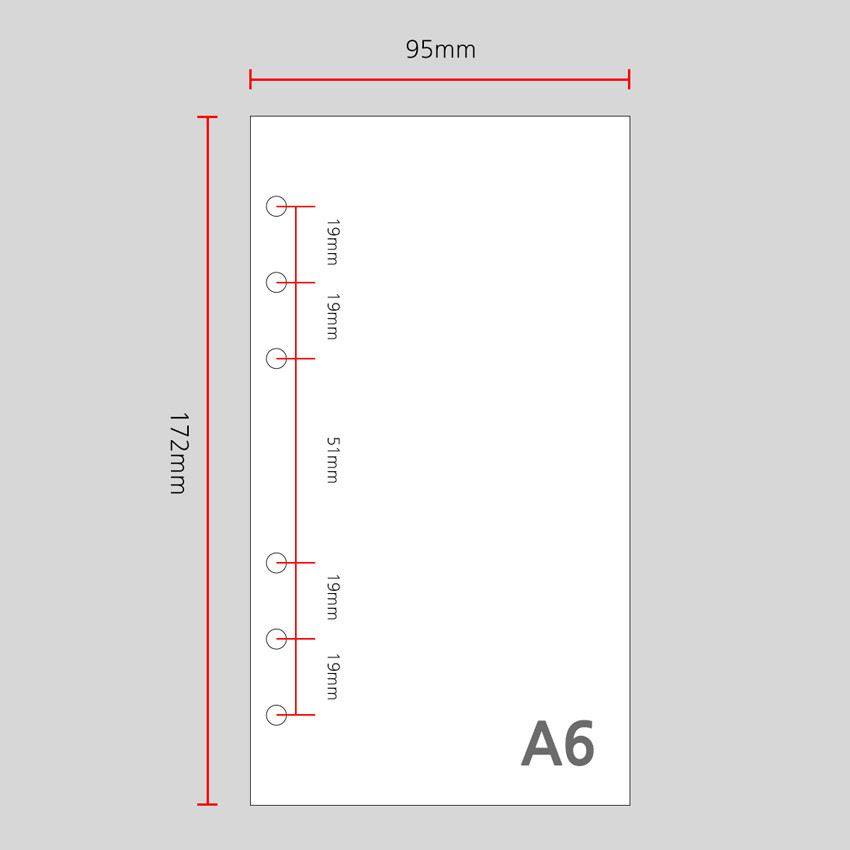 Size - Wanna This Color blank paper A6 size 6 holes refills set