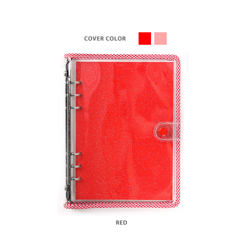 Red - Wanna This Picnic check A5 6-ring dateless monthly planner