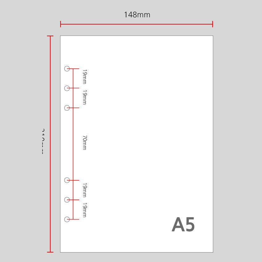 Size - Wanna This Color blank paper A5 size 6 holes refills set