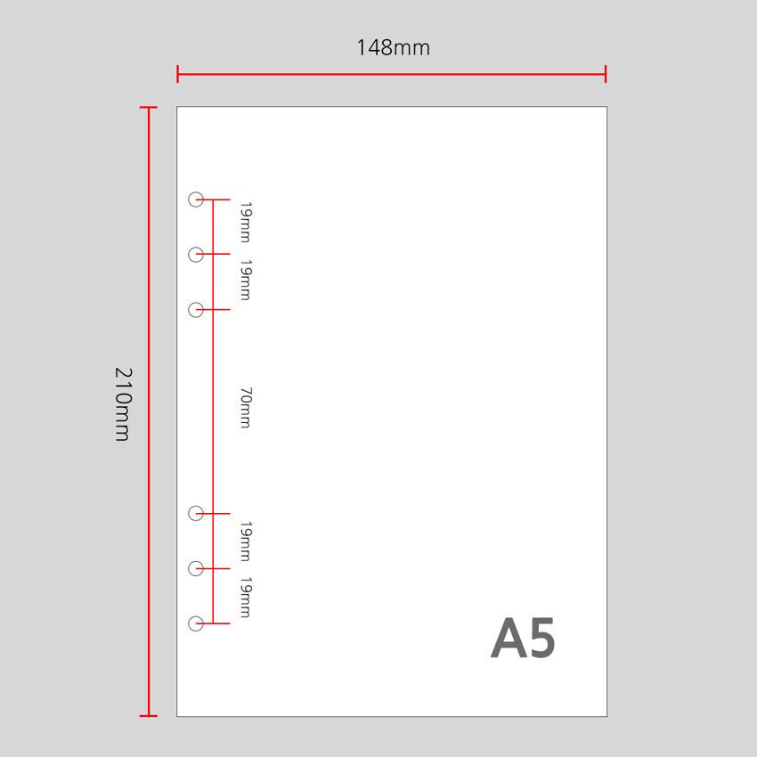 Size - Wanna This Palette grid A5 size 6 holes paper refills set