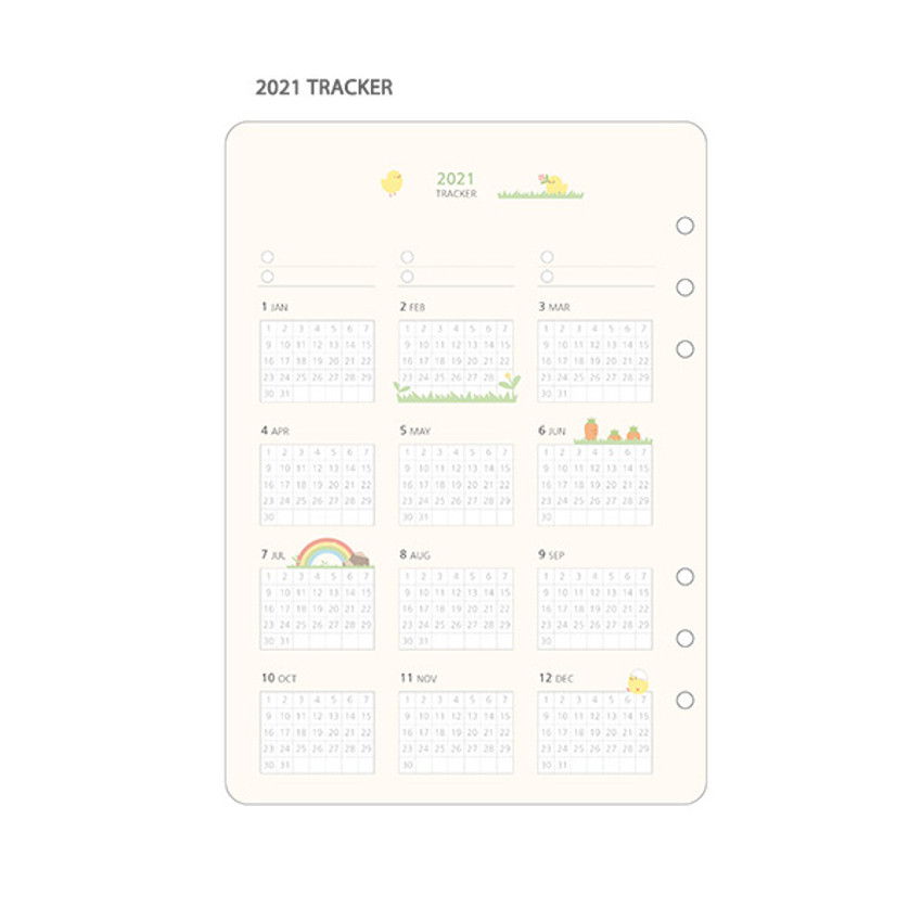 2021 Tracker - 2021 Chou Chou A5 6 hole dated monthly plan paper refill set