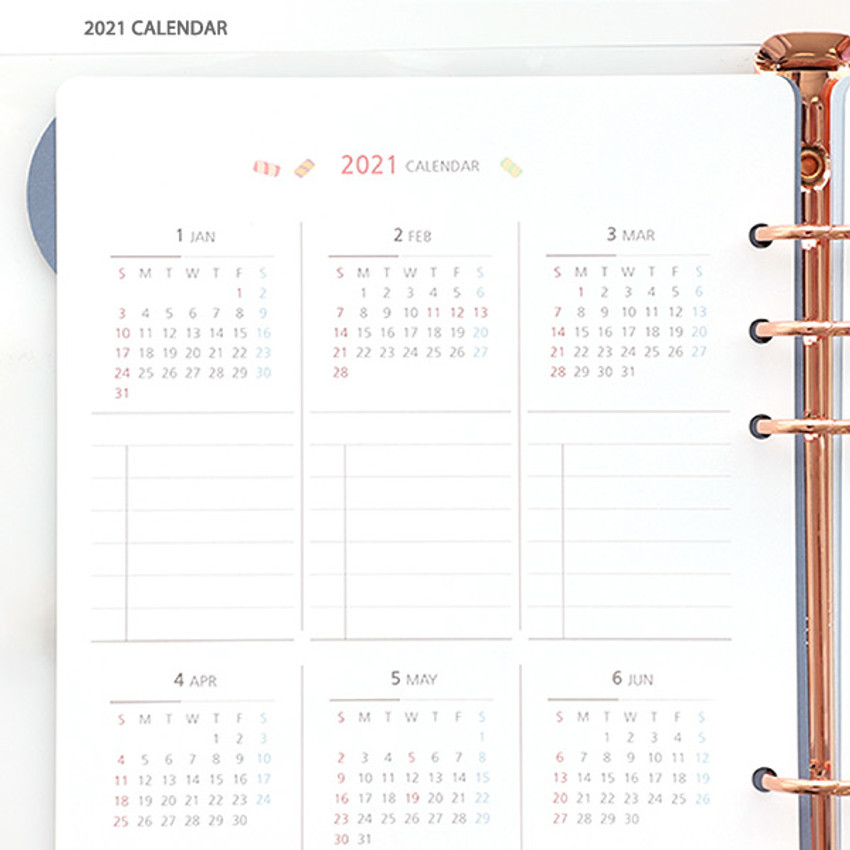 2021 Calendar - 2021 Chou Chou A5 6 hole dated monthly plan paper refill set
