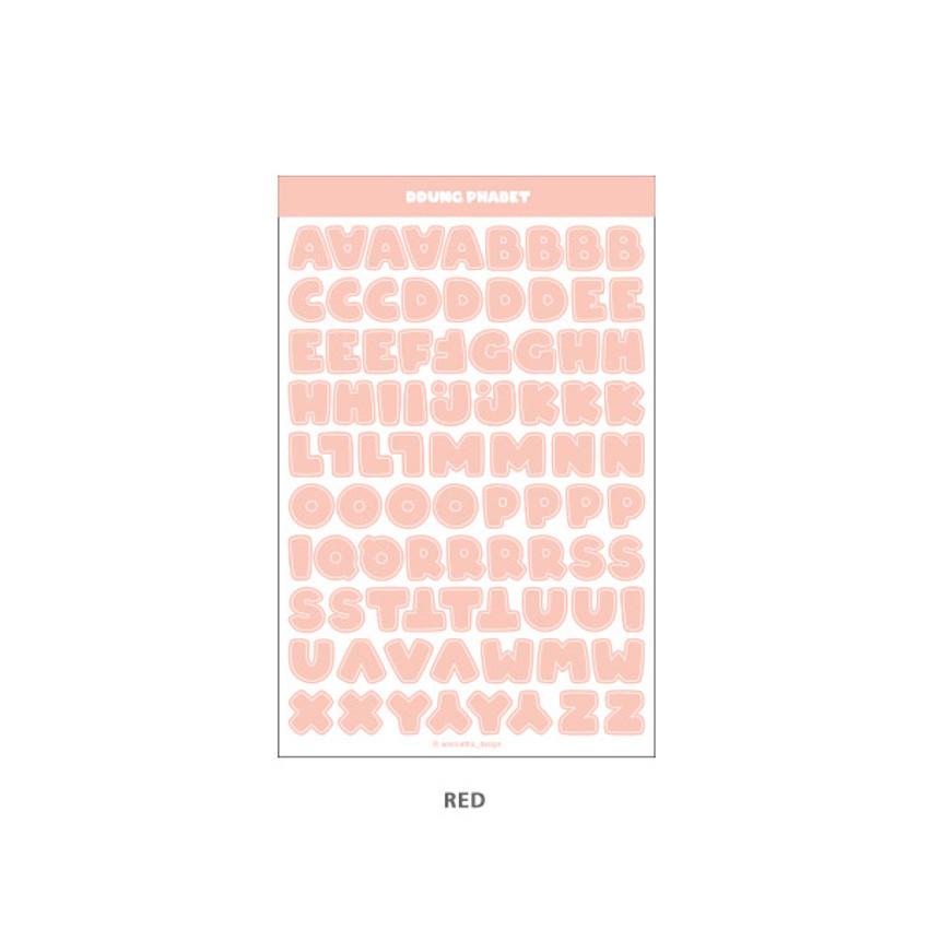Red - Wanna This Ddung phabet pastel Alphabet letter sticker