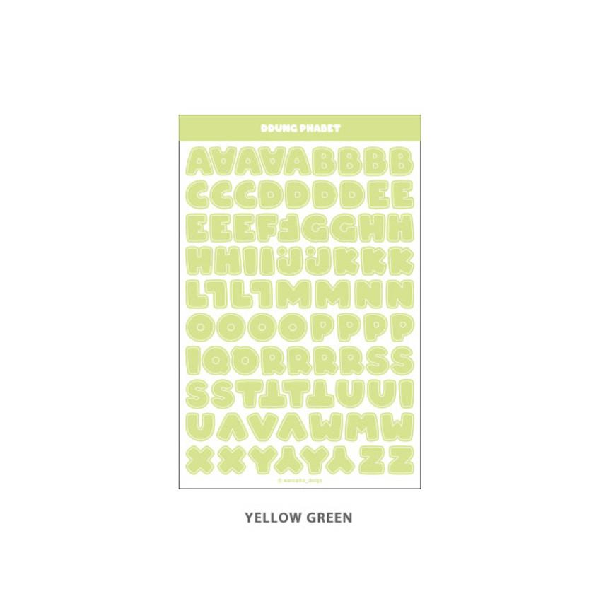 Yellow Green - Wanna This Ddung phabet pastel Alphabet letter sticker