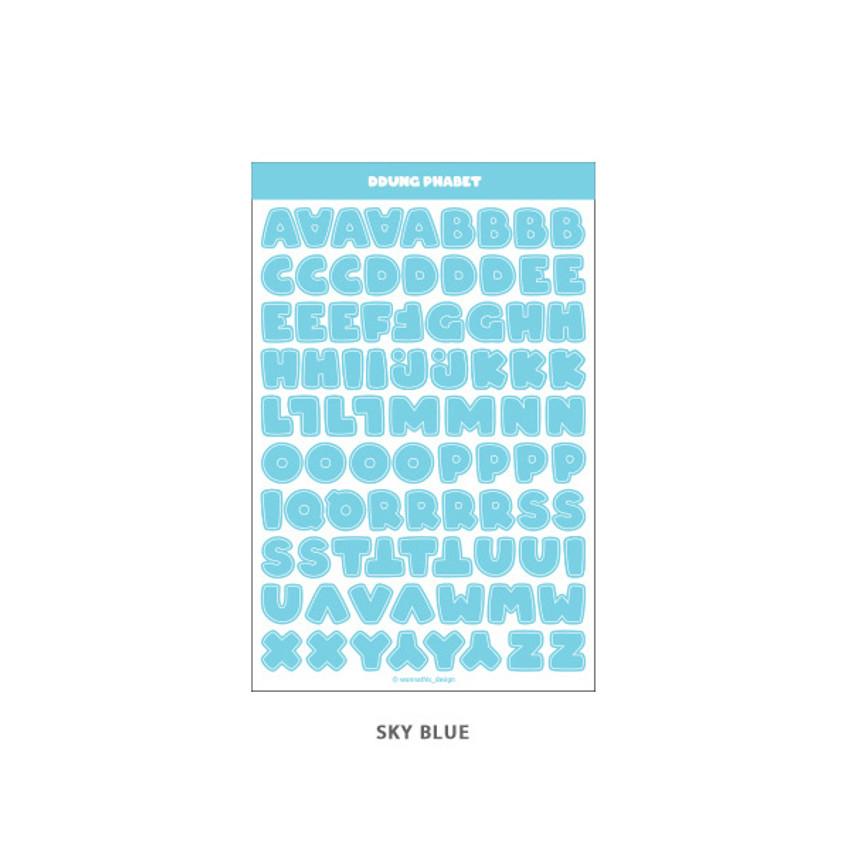 Sky Blue - Wanna This Ddung phabet pastel Alphabet letter sticker