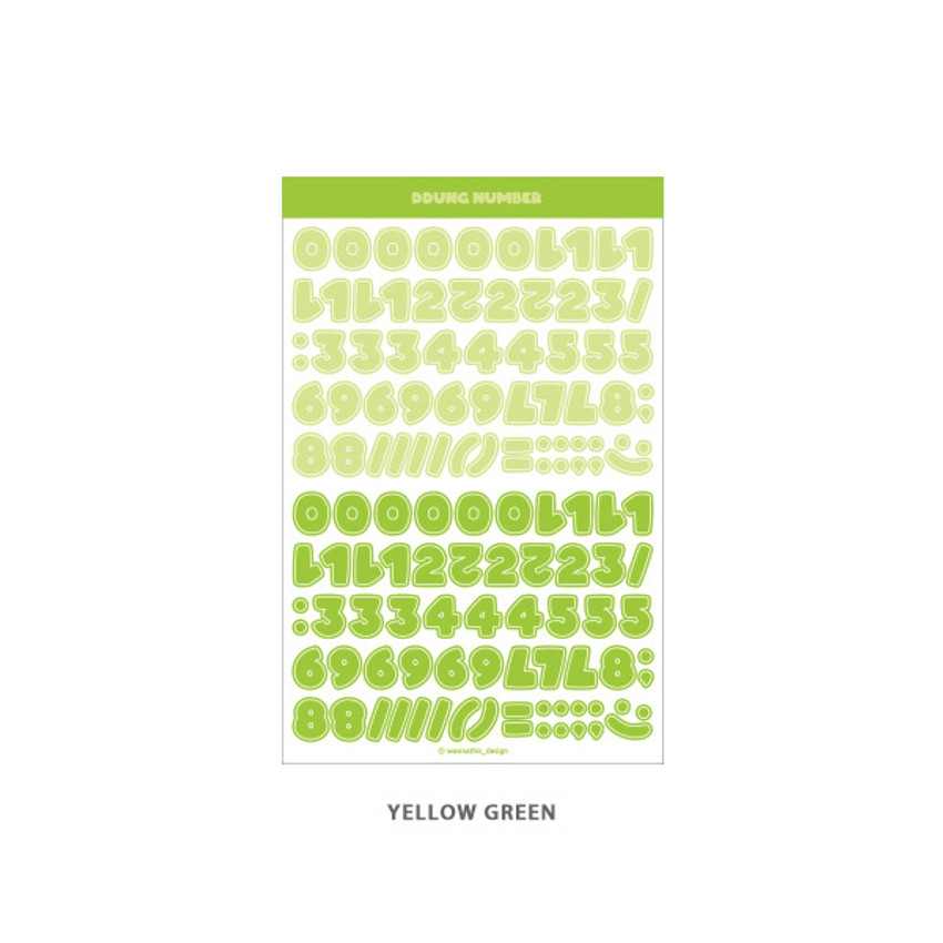 Yellow Green - Wanna This Ddung phabet bold Number letter sticker