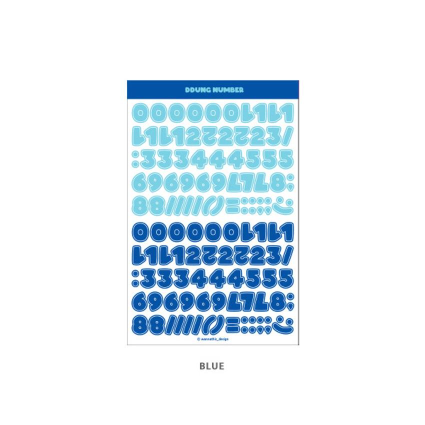 Blue - Wanna This Ddung phabet bold Number letter sticker