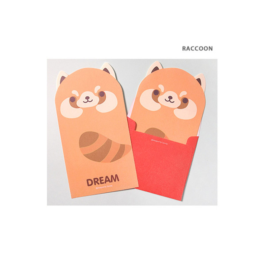 Raccoon - 2young Lovely animal friends letter and envelope set