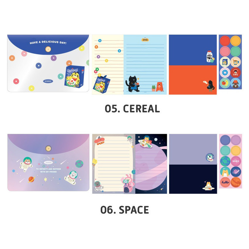 Cereal, Space - ICONIC Letter and envelope set with PVC pouch