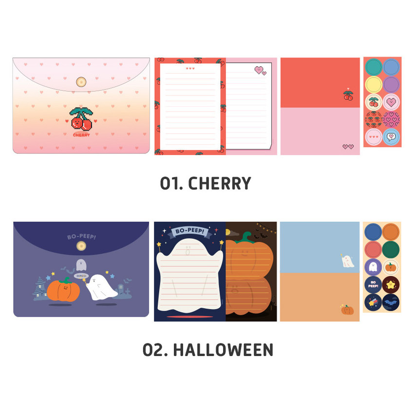 Cherry, Halloween - ICONIC Letter and envelope set with PVC pouch
