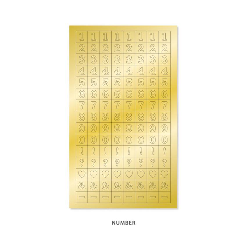 Number - Indigo Gold shiny decoration adhesive sticker