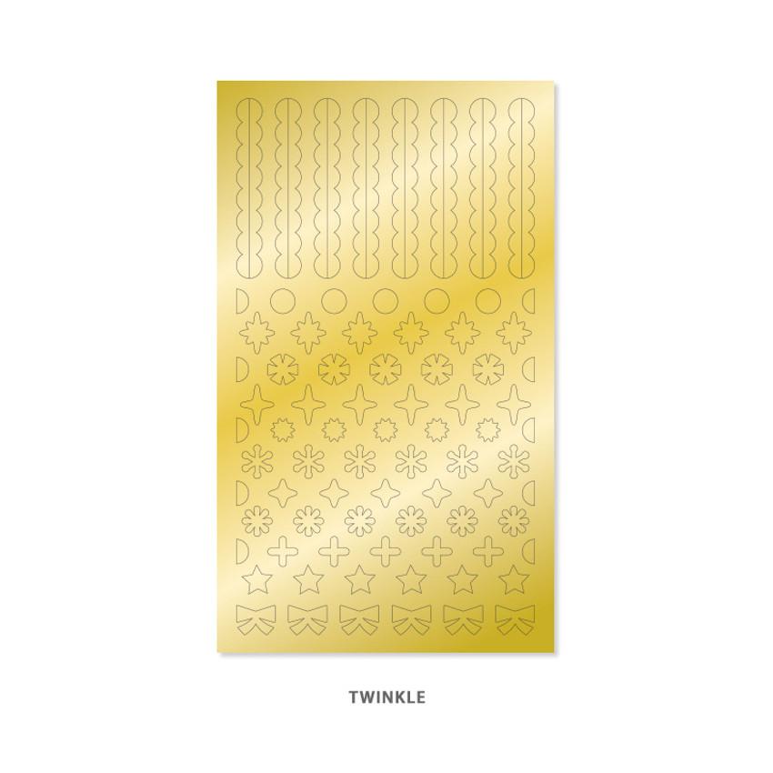 Twinkle - Indigo Gold shiny decoration adhesive sticker
