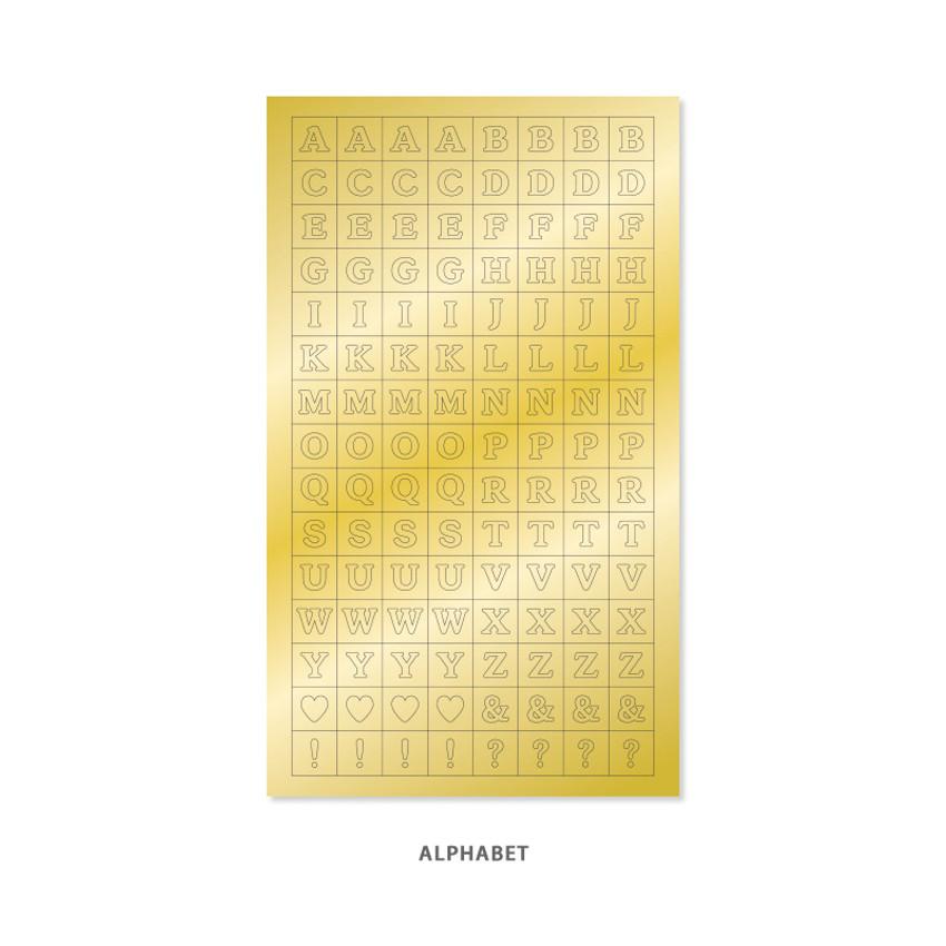 Alphabet - Indigo Gold shiny decoration adhesive sticker