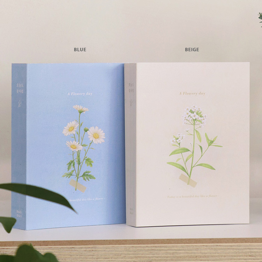 Blue, Beige - Indigo A Flowery day dated daily diary journal