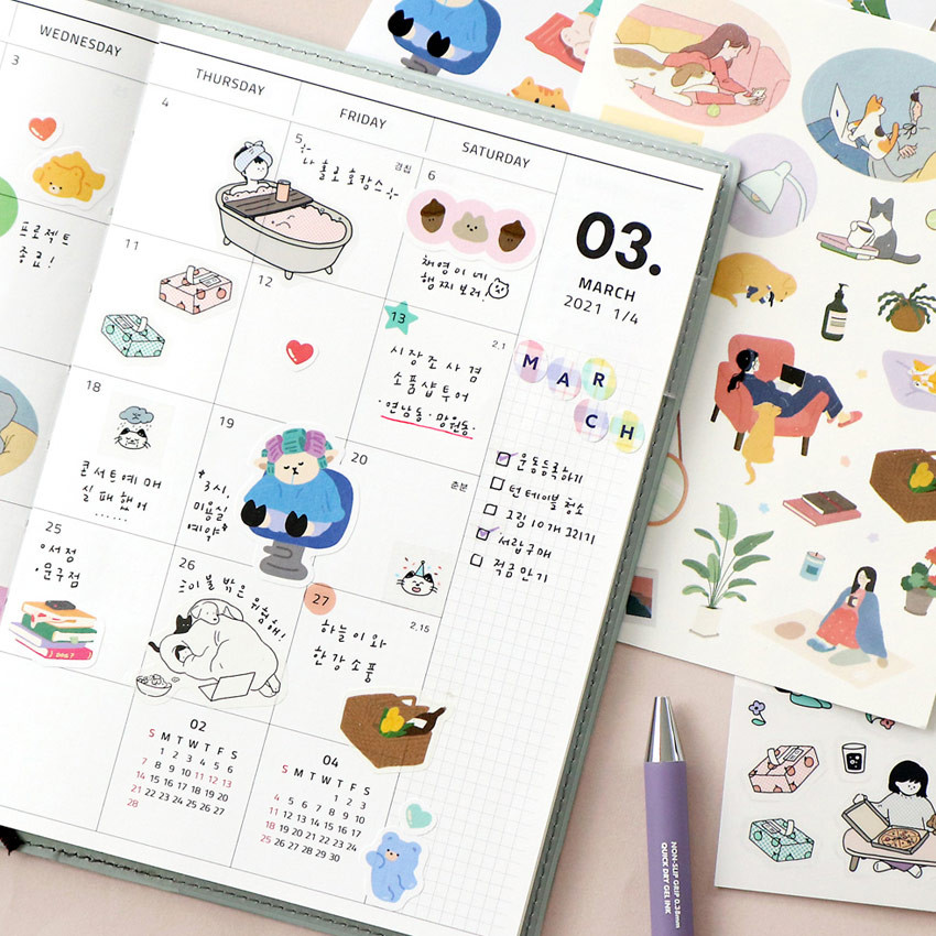 Usage example - ICONIC Diary deco sticker 9 sheets in one set ver11