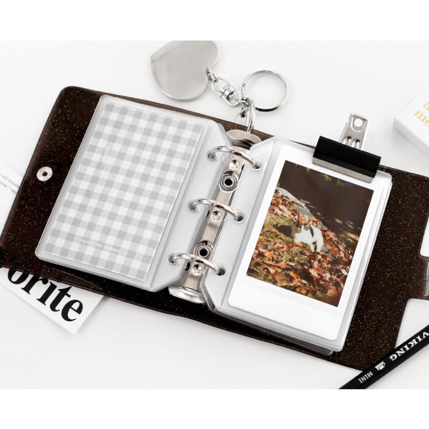 Black - 2NUL Glitter 3 ring Instax mini slip in pocket photo album