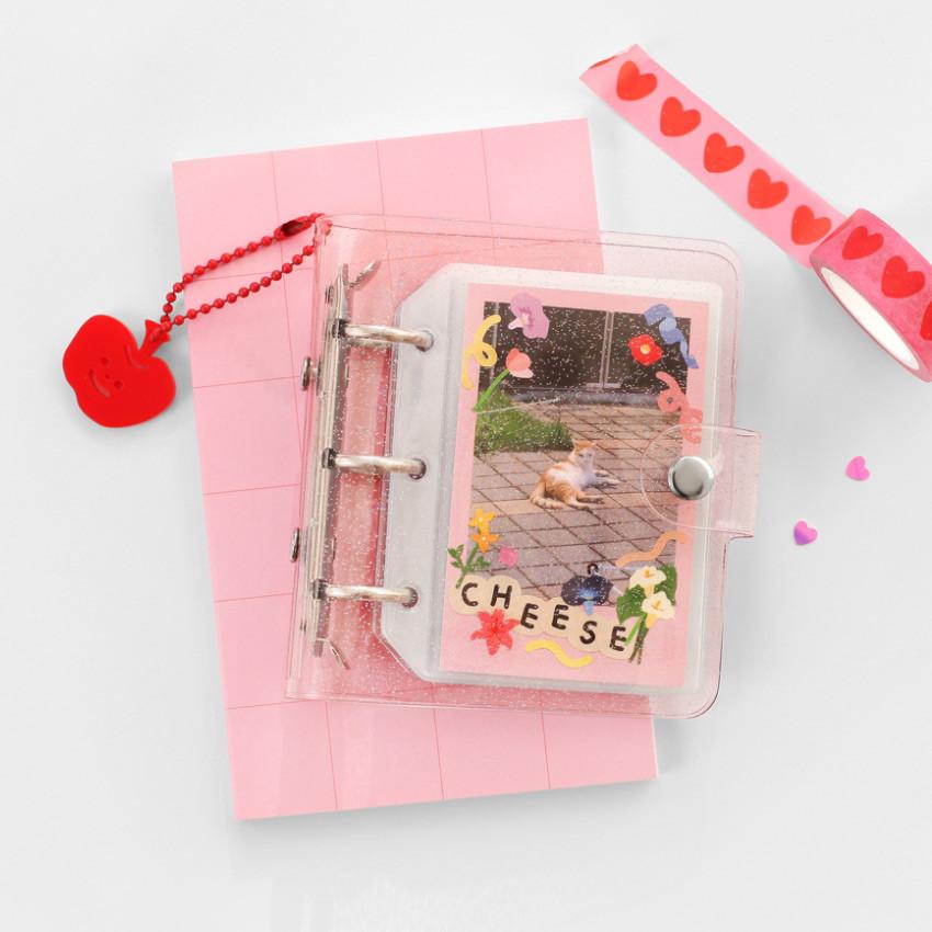 Pink - 2NUL Glitter 3 ring Instax mini slip in pocket photo album