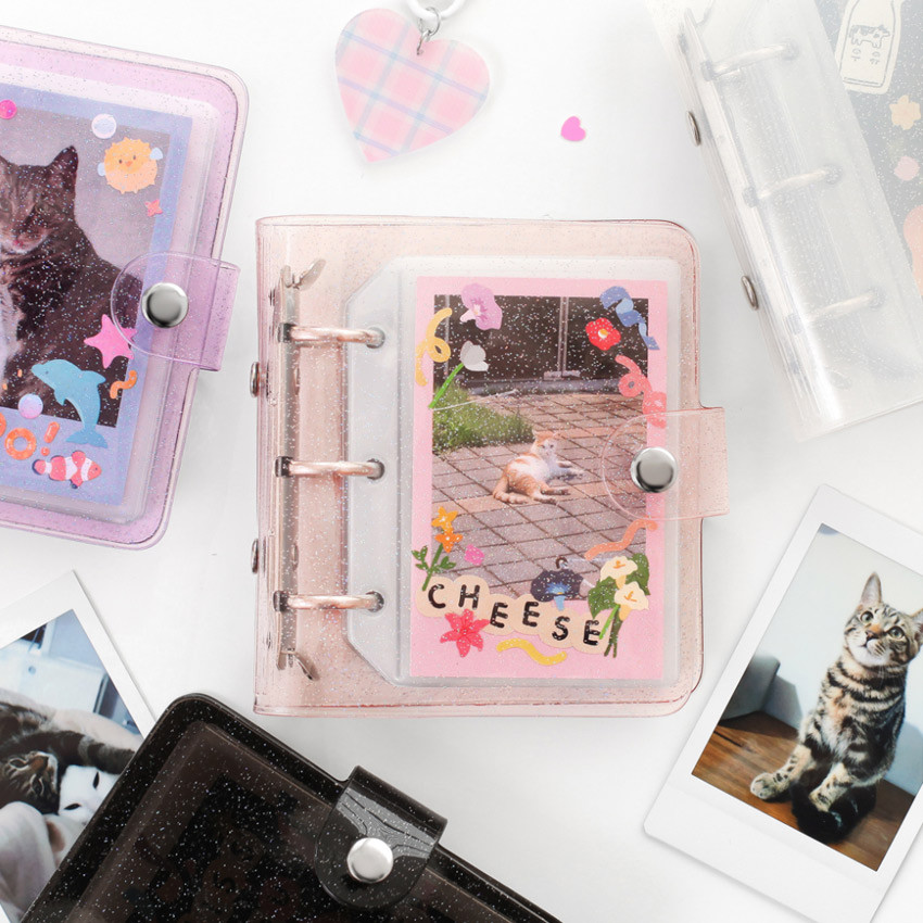 2NUL Glitter 3 ring Instax mini slip in pocket photo album