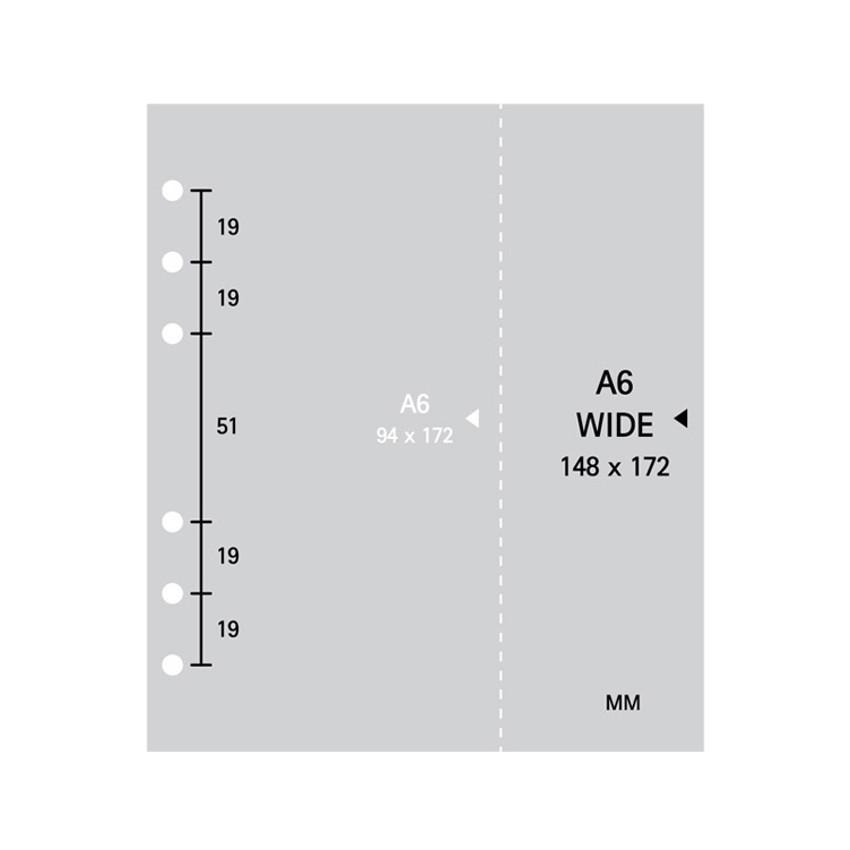 Inner paper size - 2NUL Cherry pick wide A6 6-ring PVC zipper binder