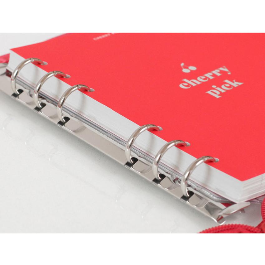 6 ring binder - 2NUL Cherry pick wide A6 6-ring PVC zipper binder