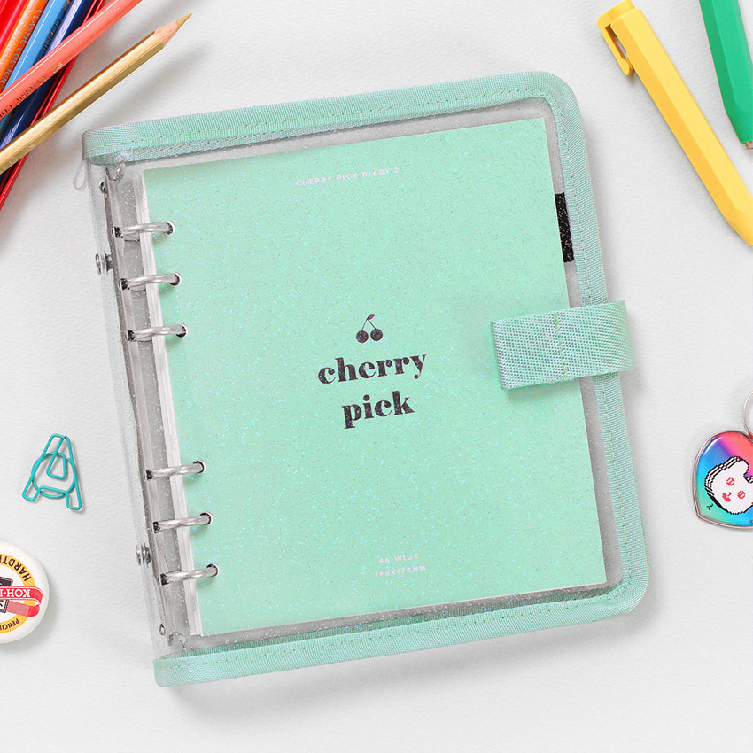 Mint - 2NUL Cherry pick wide A6 6-ring PVC button binder