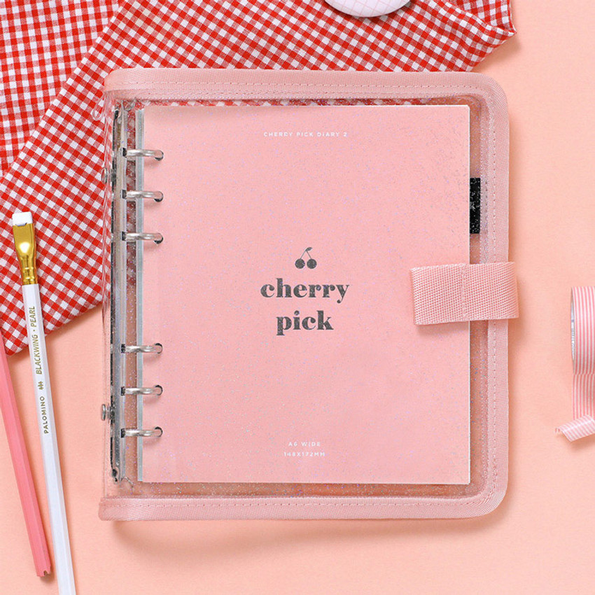 Pink - 2NUL Cherry pick wide A6 6-ring PVC button binder