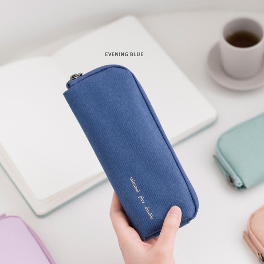 Evening blue - Byfulldesign Oxford double zipper pencil case ver5