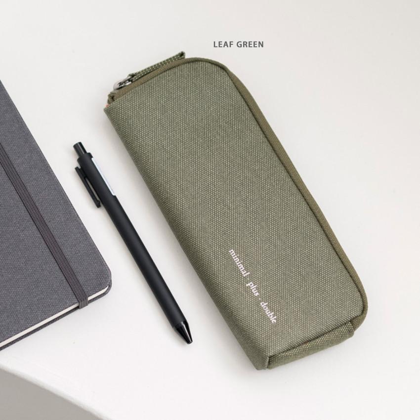Leaf green - Byfulldesign Oxford double zipper pencil case ver5