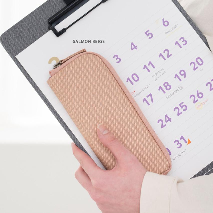 Salmon beige - Byfulldesign Oxford double zipper pencil case ver5