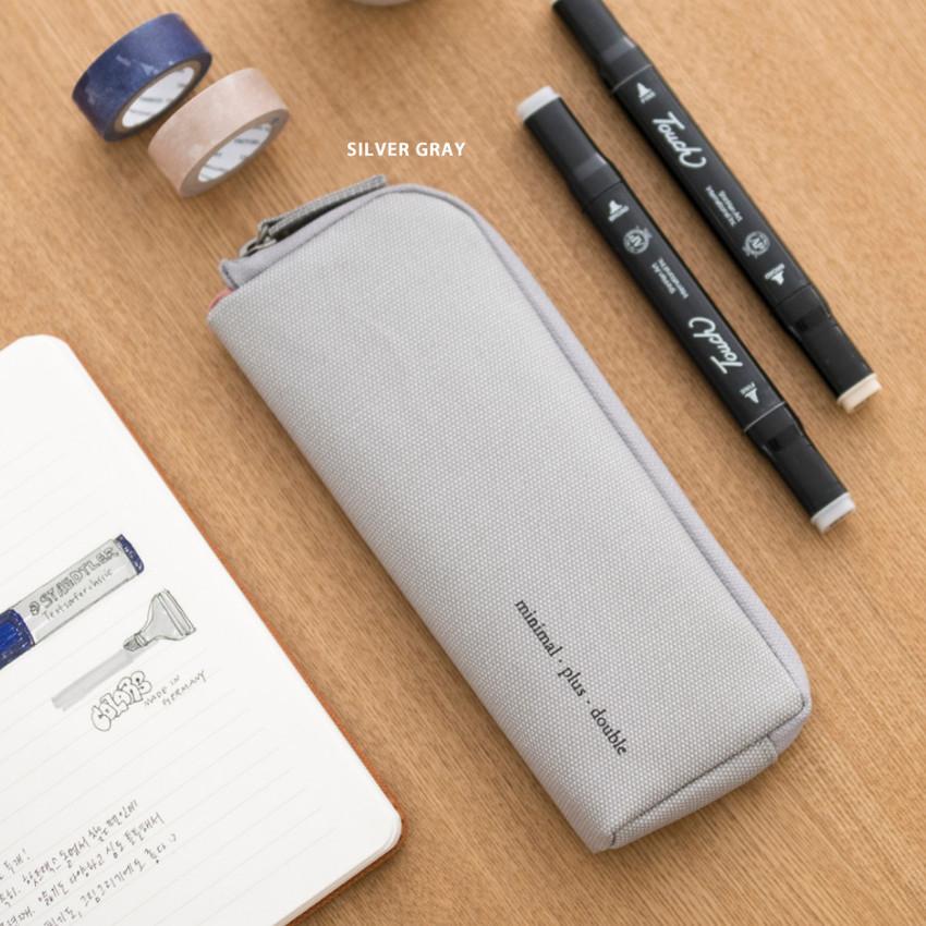 Silver gray - Byfulldesign Oxford double zipper pencil case ver5