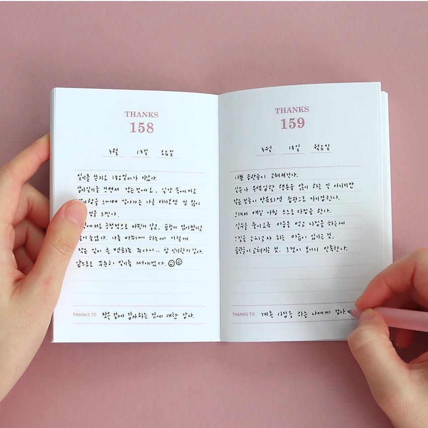 Usage example - Indigo 365 days dateless gratitude daily journal