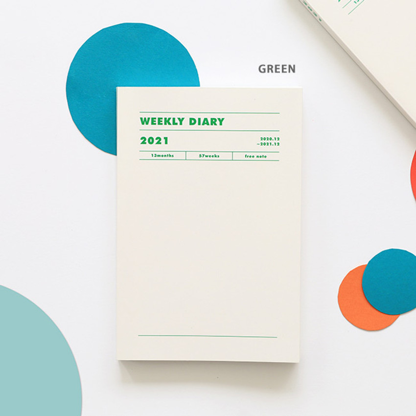 Green - Indigo 2021 Colorful and Basic dated weekly diary planner
