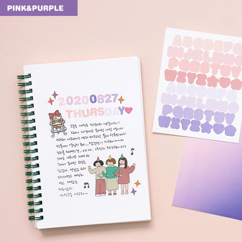 Alphabet pink purple - Indigo Color and Gradation Alphabet sticker set